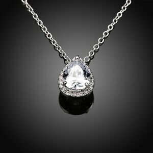 Sterling-Silver-Cubic-Zirconia-CZ-Stone-Water-Drop-Heart-Pendant-Necklace-Box-A8
