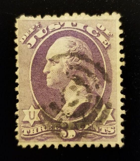 1873 3c Official Justice Department, Washington, Purple