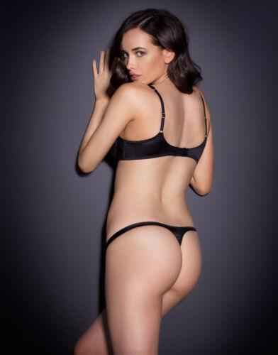 Agent Provocateur LARIZSA Wet-Look Black Lace Thong Sz:2 S R:$190 New w//Tags