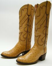WOMENS TALL GENUINE FULL OSTRICH QUILL TAN DRESS COWBOY WESTERN BOOTS SZ 4 B 4B