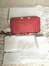 Authentic New Chloe Marcie Red Long Zip Around Calfskin Leather Wallet $550 NWT