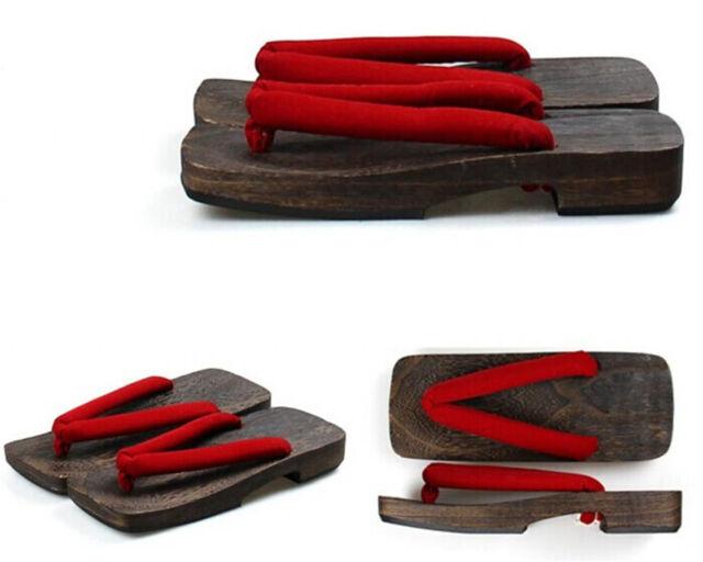 New Japanese geta clogs men bidentate Flops Black Sandals  FC09