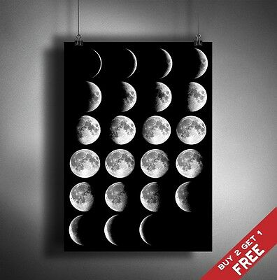 A3 Moon Phases GLOSSY PHOTO POSTER PRINT PICTURE Half Full Crescent Space Decor