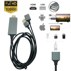 1080P HDMI Mirroring Cable 6Ft Phone to TV HDTV Adapter For iPhone iPad Android