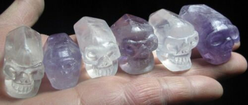 173g 6pcs NATURAL AMETHYST QUARTZ Crystal Skull Healing