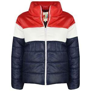 Kids Girls Boys Designer Contrast Panel Hooded Jackets Padded ... 6393f59bd377