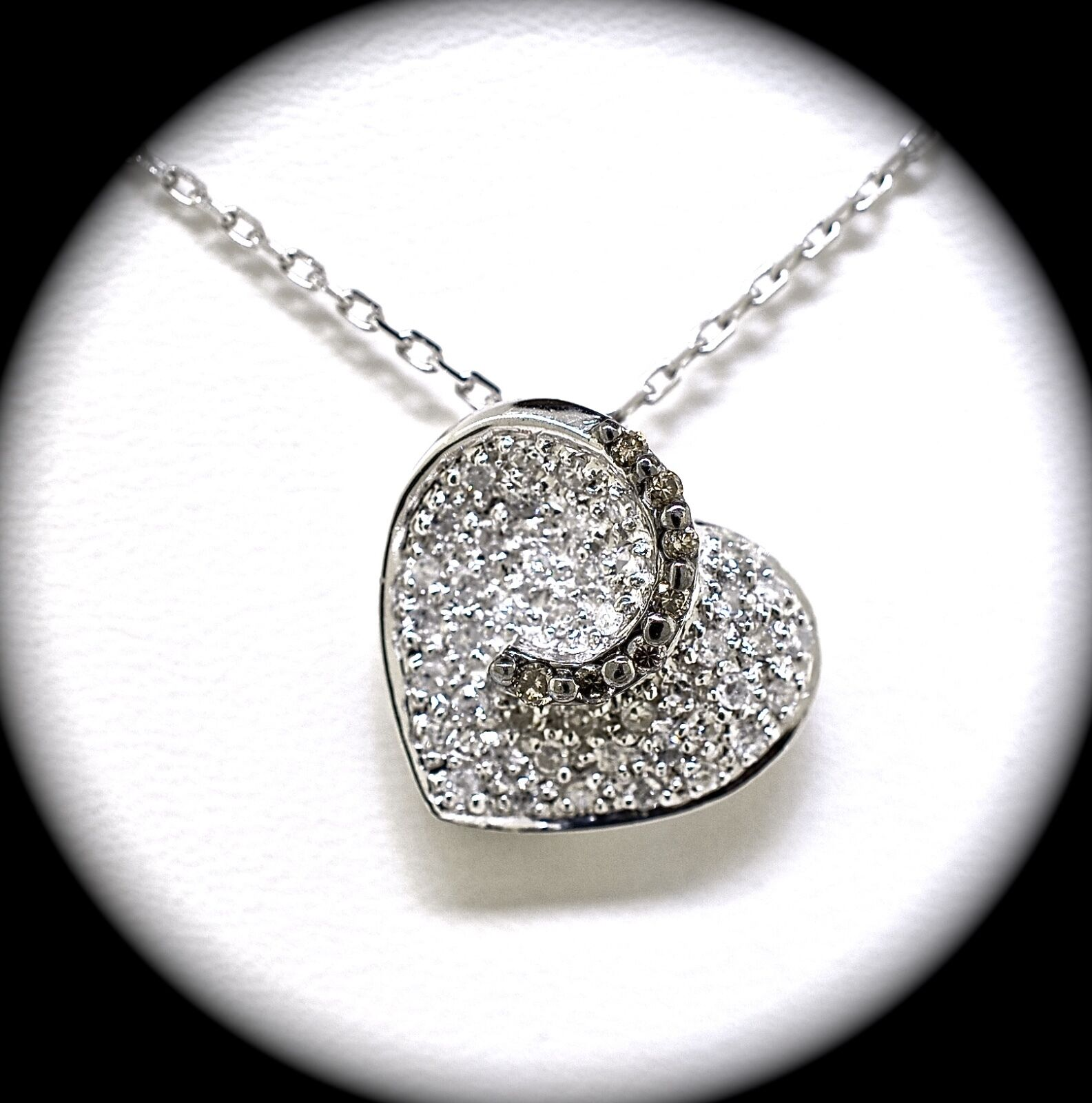 14k White gold And Diamond Heart Pendant And Chain 18