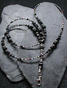 AgréAble Midnight Libellule Noir Perle De Verre Id Lanyard Badge Holder-afficher Le Titre D'origine Attrayant Et Durable