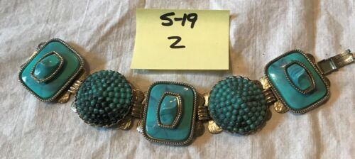 Funky Vintage Unmarked Faux Turquoise Plastic Ston