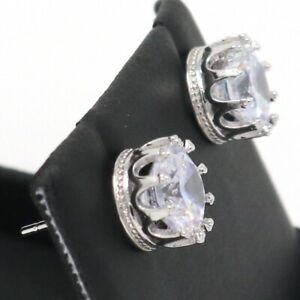 1-5-Ct-Round-Cut-Moissanite-Crown-Stud-Earrings-14K-White-Gold-Filled-Jewelry