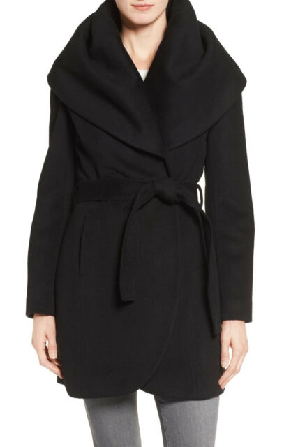 Tahari Women's Marla Belted Wrap Wool Cape Coat, Black, Size XS, $400, NwT