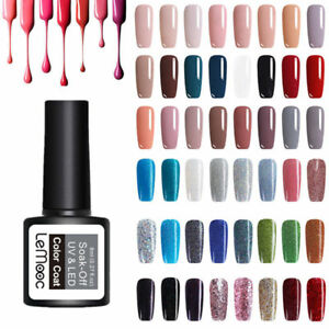 8ml LEMOOC Nail UV Gel Polish Soak off Nail Art Pure Color Glitter Sequins Gel