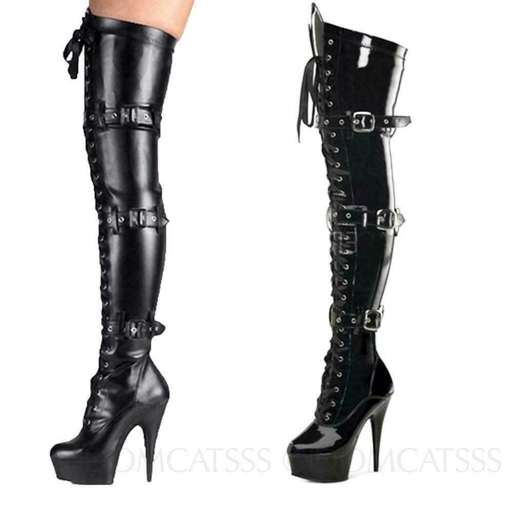 Gothic Cosplay Boots Thigh length Motorcycle Platform shoes high heels Size 4-10