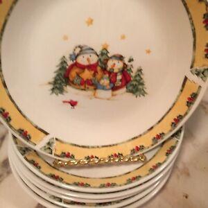 Gibson-Dinnerware-2003-Snowman-Frolic-Dessert-Plates-7-Inch-Set-Of-Six