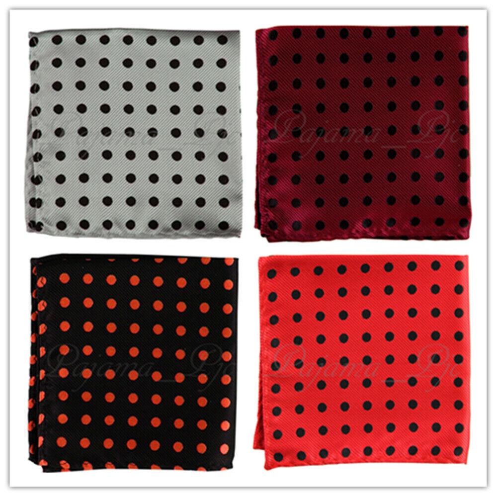 New Men's Polka Dots Stripes Pocket Square Hankie Only 10 x 10 in Handkerchief