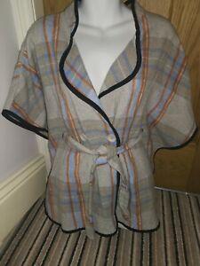 Checked-Plaid-tratan-Wrap-cape-shawl-poncho-tie-belt-sz-8-10-12-cottagecore-look