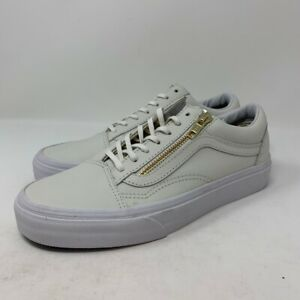 Vans-Old-Skool-Zip-Leather-True-White-Gold-Women-039-s-Size-7-Ivory-Skate-Shoes-New