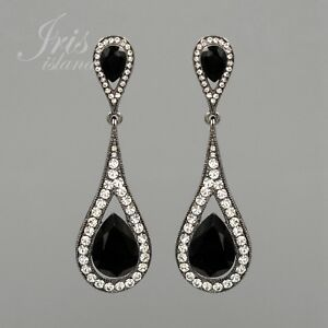 479c4596a Image is loading Alloy-Black-Jet-Crystal-Rhinestone-Chandelier-Drop-Dangle-
