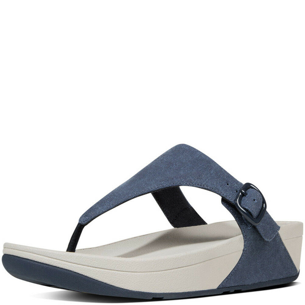FitFlop The Skinny Thong Sandales Größe 43 (US NEW 11) Midnight Navy Canvas NEW (US Fab 1301de
