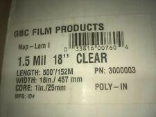 2 Pack Roll Gbc Nap Lam Laminating Film 15 Mil 18 X 500 1 Core 3126061 Glos