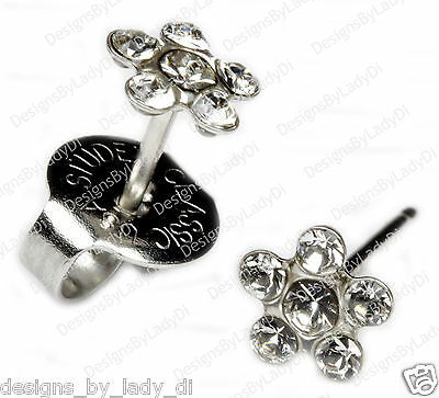 Clear Crystal Daisy Flower Silver Studs Ear Piercing Earrings Studex System 75