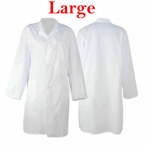 Unisex Doctors Coat Medical Lab Industry School Overall Jacket With Pocket White