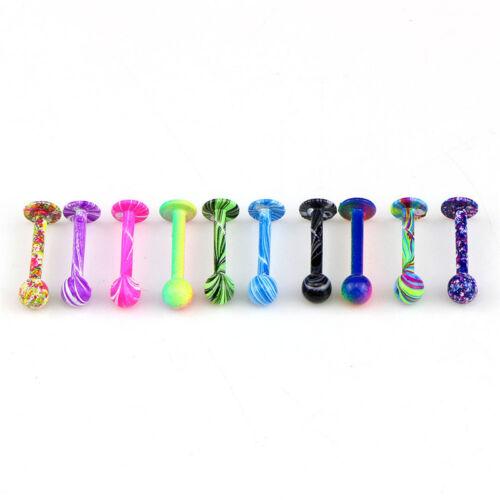 10PCS//Set 16G Stainless Steel Tragus Ball Lip Labret Rings Bar Piercing Jewe ZJH