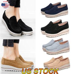 Women-Fashion-Boat-Shoes-Casual-Block-Walker-Slip-On-Flat-Loafers-Single-Shoes