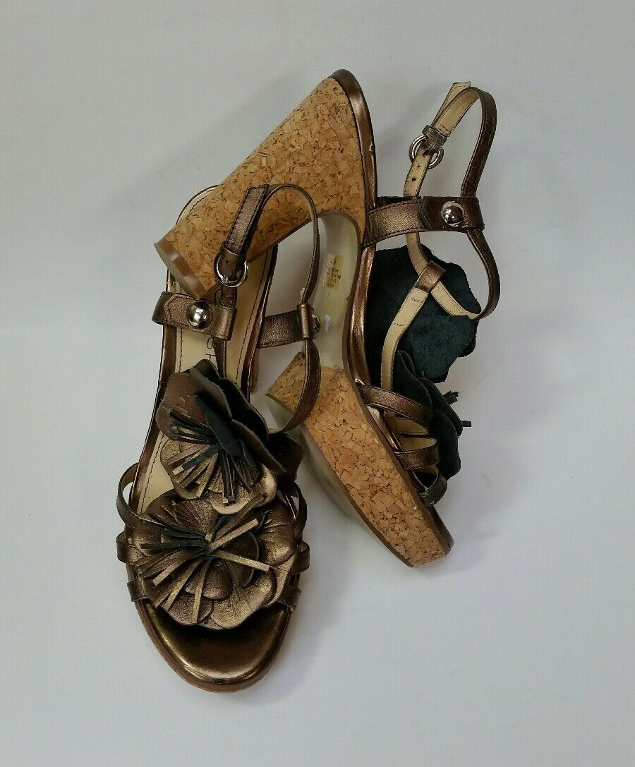 Marc Fisher shoes Heels Sandals Cork Wedge Flowers Metallic gold Size 6.5 M