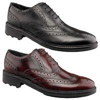 Mens New Black Oxblood Leather Formal Brogues Shoes Uk  6 7 8 9 10 11 12