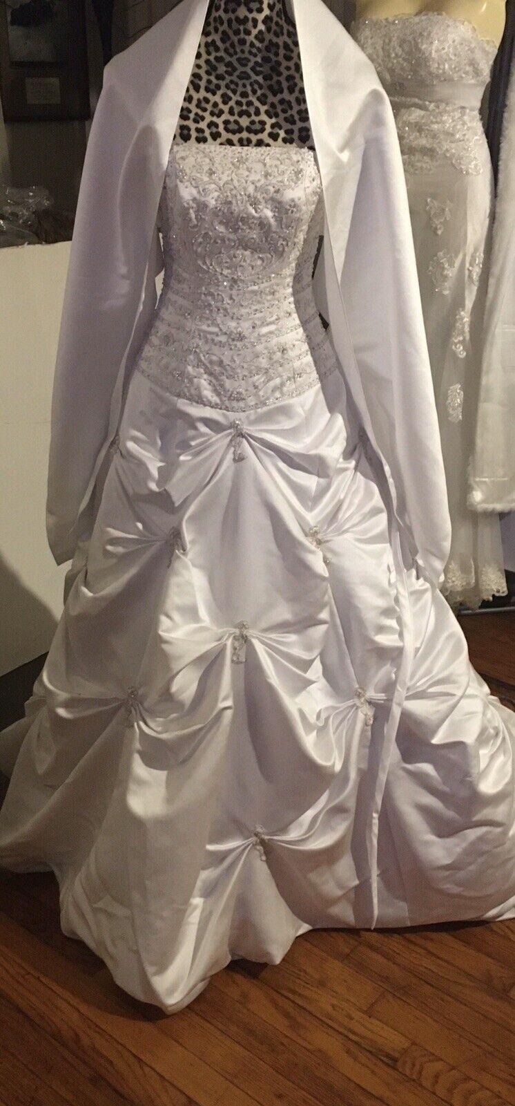 Bridal Wedding Dress IVORY Ball Gown Satin Ruffle Lace Corset Open Back Sz 2 New
