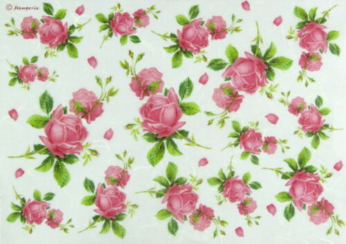 Rice Paper for Decoupage Scrapbook Craft Sheet Texture with Rosebud