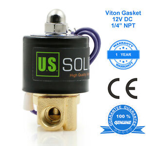 U-S-Solid-1-4-034-Brass-Electric-Solenoid-Valve-DC-12V-VITON-Water-Air-Fuel-N-C