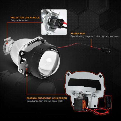 """2.5/"""" Bi Xenon HID Projector Retrofit Headlight Lens H1 Bulb H4 H7 Adapters Hi//Lo"""