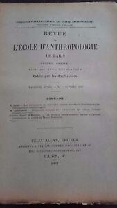 Revista ESCUELA DE ANTROPOLOGÍA 13 Eme Annee 1903F. Alcan N º X ABE