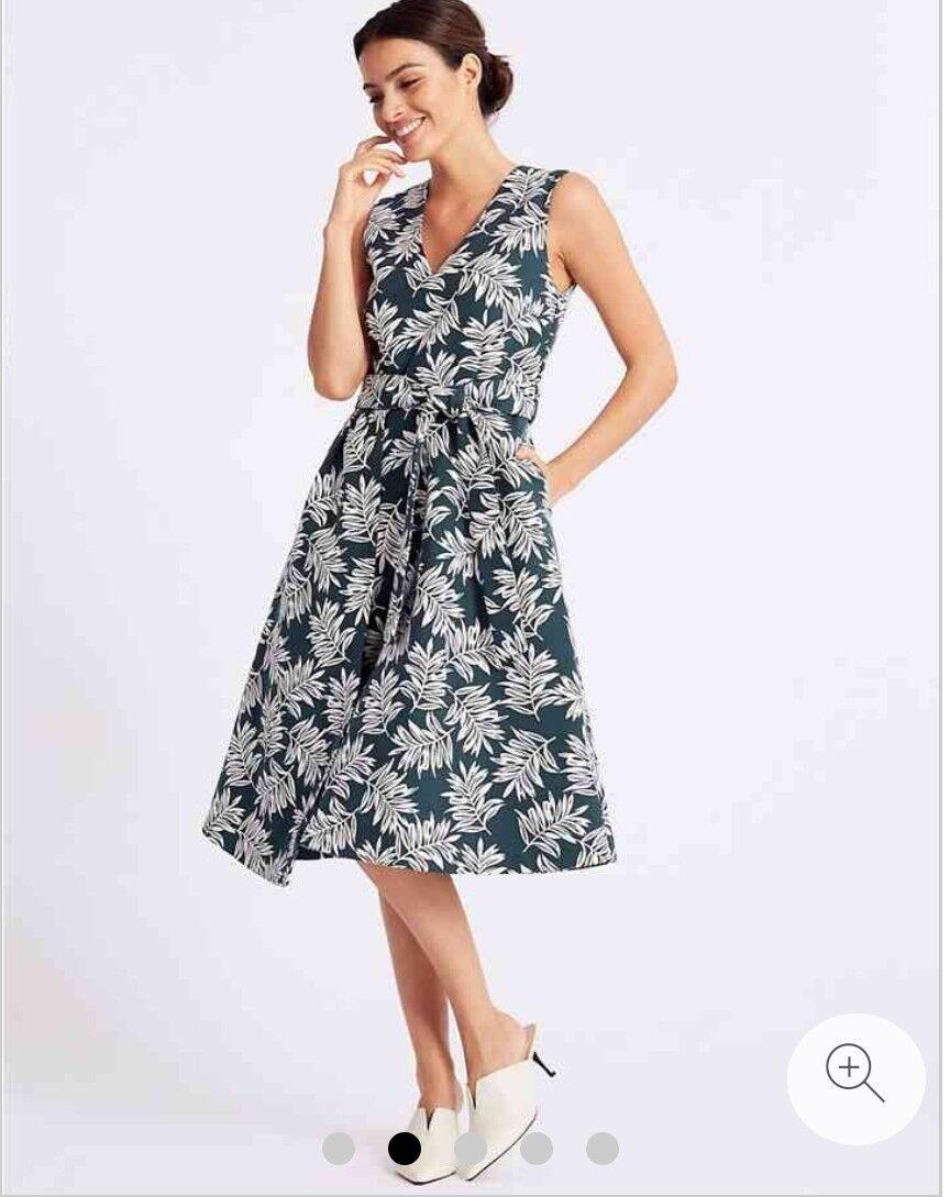 M&S Per Una Jacquard Leaf Print Prom Dress Teal grau Größe 10 Rrp