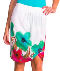 Desigual Wrap Skirt White Turquoise Knit NWOT  Size M