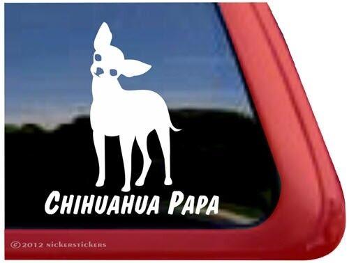 Chihuahua PapaHigh Quality Vinyl Dog Window Decal Sticker