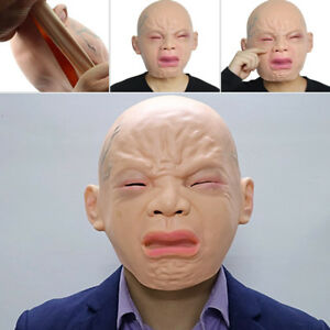 Halloween-Crying-Face-Baby-Rubber-Latex-Mask-Overhead-Scary-Fancy-Dress-Props