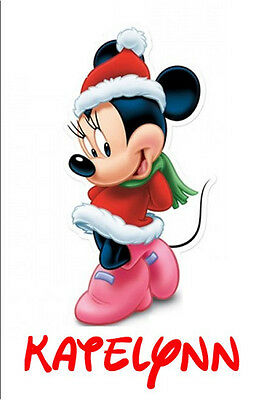 ****MINNIE MOUSE CHRISTMAS***PERSONALIZED*FABRIC/T-SHIRT IRON ON TRANSFER