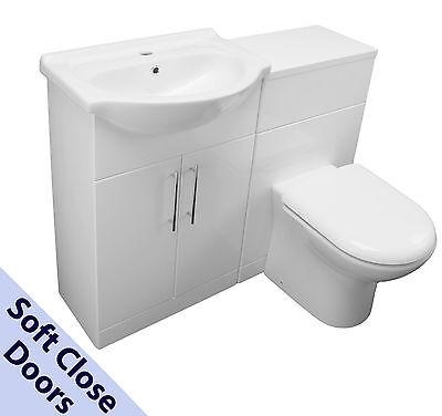 1150 BACK TO WALL BATHROOM VANITY 550 BASIN SINK WC UNIT TOILET CISTERN WHITE