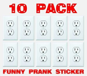 FUNNY-ELECTRICAL-OUTLET-Stickers-10-Pack-Prank-Fake-Joke-Decal-Sticker-custom