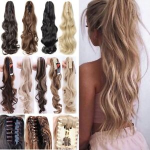 New-Thick-Clip-In-Pony-Tail-Hair-Extensions-Claw-Clip-On-Ponytail-As-Human-Piece