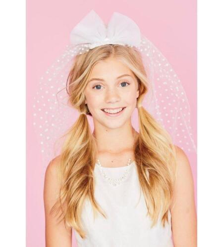 JUSTICE Girl/'s White Pretty Polka Dot First Communion Veil NWT