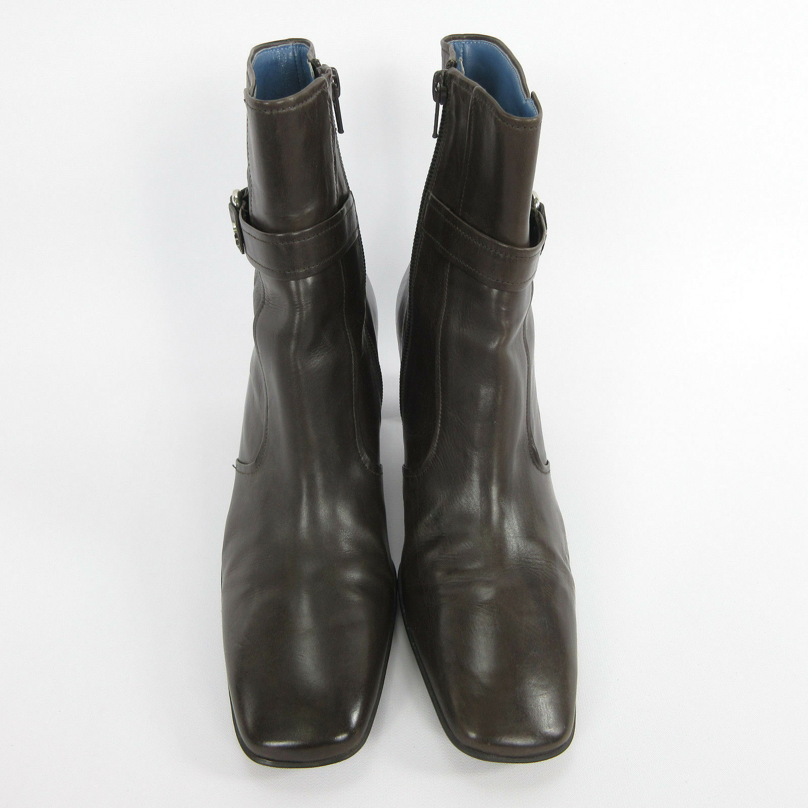 Cole Haan Womens Ankle Boots 9.5 Brown Leather D18066 Square Toe Side Zip D18066 Leather 1b8fac