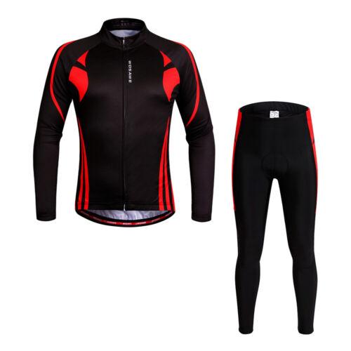 Men Cycling Clothing Long Sleeve Cycle Jersey Padded Pants MTB Bike Trousers Kit