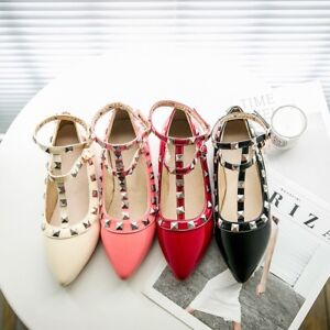 Ladies-Pointed-Shoes-Rivets-Synthetic-Leather-Flat-Heel-Strap-Pumps-US-Size-s231