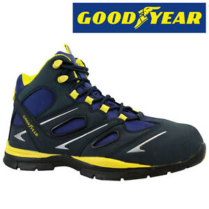 MENS GOODYEAR LEATHER SAFETY WORK BOOTS STEEL TOE CAP SHOES TRAINERS ...