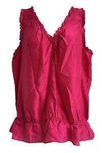 Old-Navy-Hot-Pink-Pure-Silk-Ruffle-Sleeveless-Top-Blouse-Size-XXL