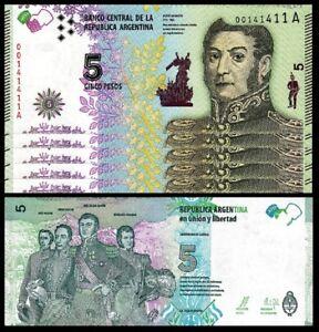 Fabregas /& Ocampo Argentina 5 Pesos 1960 1962 Unc Sign P 275a Prefix a